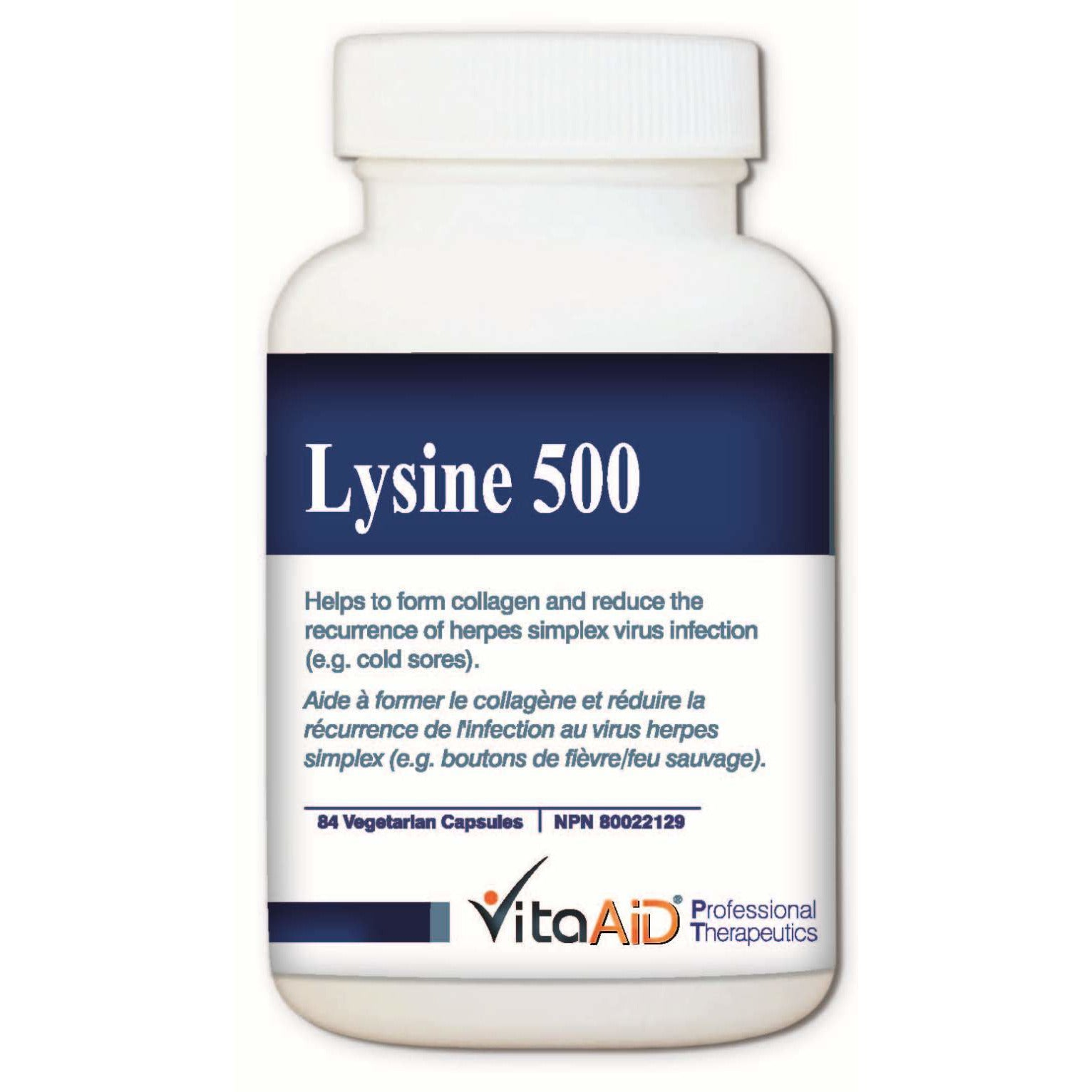 Lysine 500 Help reduce the recurrence of herpes simplex virus (HSV) infections (eg. cold sores) 84 veg caps