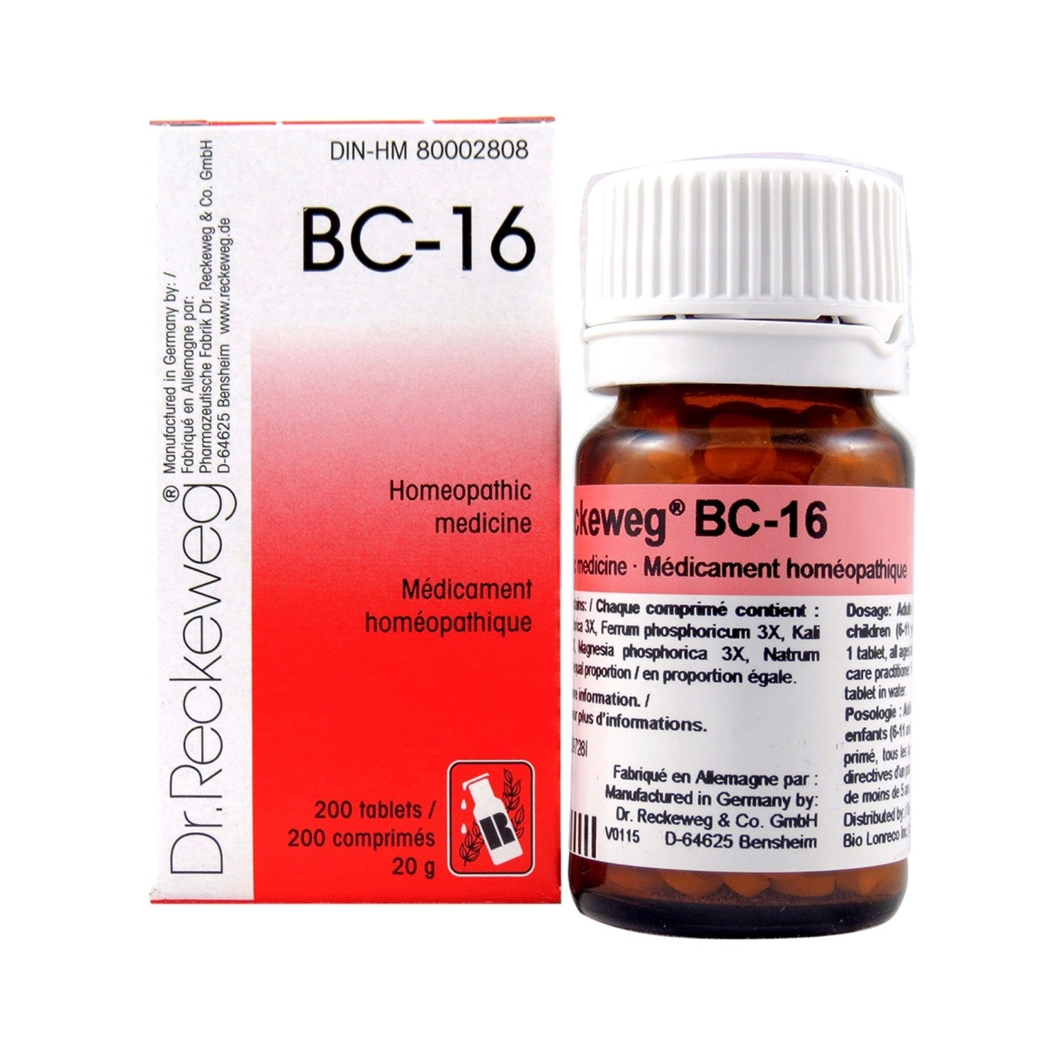 BC-16 Homeopathic medicine – Combination salt  200 tablets (20 g)