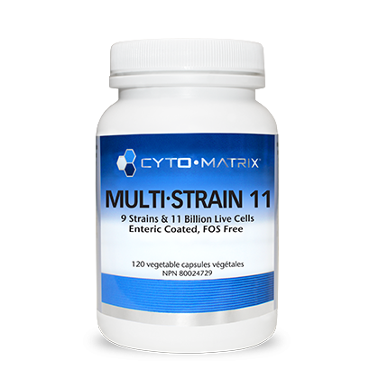 Multi-Strain 11. 11 billion CFUs per vegetable capsule, 9 strains, enteric-coated and FOS-free