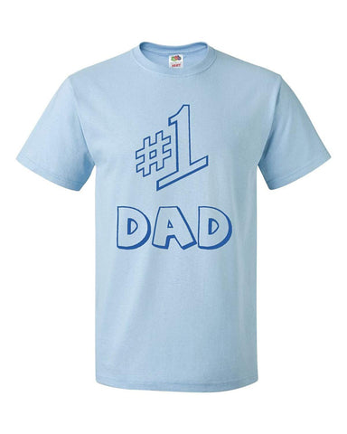 f4fdeb709 #1 Dad Adult Light Blue T-shirt Tee