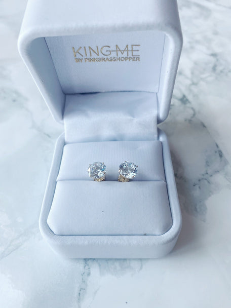 14k GOLD CZ STUD EARRINGS - KING ME Custom Jewelry by PG