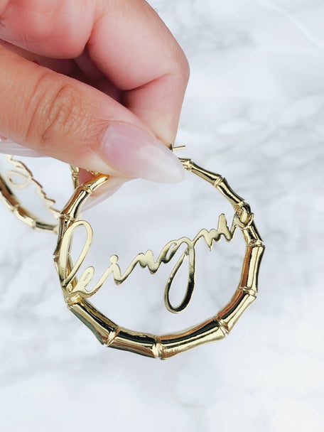 90s REMIX NAMEPLATE HOOPS - KING ME Custom Jewelry by PG