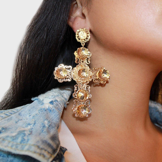 BOHEMIAN CROSS EARRINGS - KING ME Custom Jewelry by PG