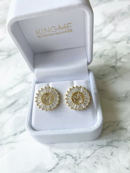CAIRO CZ INITIAL EARRINGS - KING ME Custom Jewelry by PG