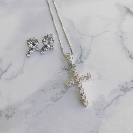 CZ CROSS NECKLACE & EARRINGS SET - KING ME Custom Jewelry by PG