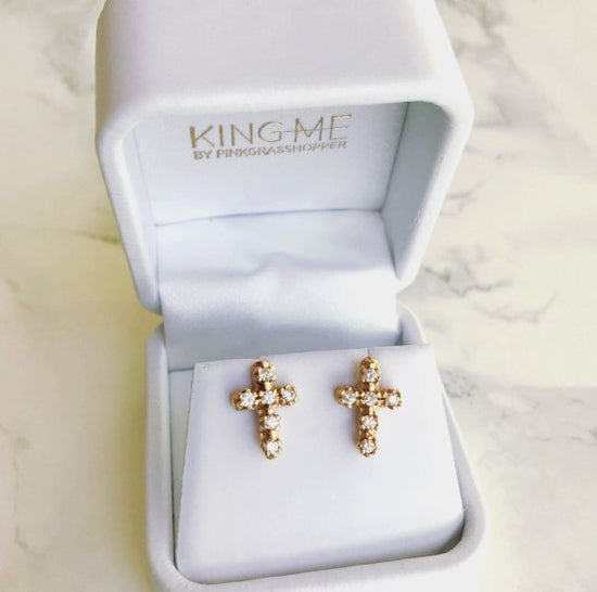 CZ CROSS STUD EARRINGS - KING ME Custom Jewelry by PG
