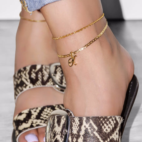 INITIAL ANKLET [Gold Filled Chain] - KING ME Custom Jewelry by PG