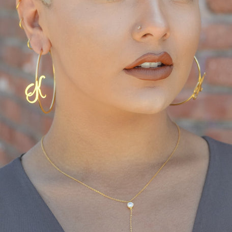 INITIAL HOOP EARRINGS - KING ME Custom Jewelry by PG