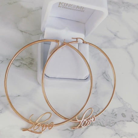 LOVE x INFINITY HOOP EARRINGS - KING ME Custom Jewelry by PG