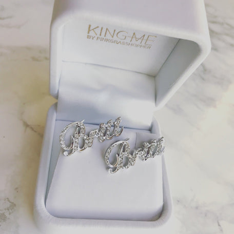 NAMEPLATE EARRINGS - KING ME Custom Jewelry by PG