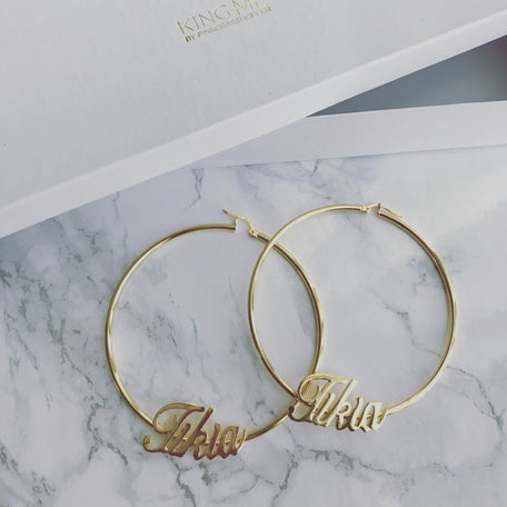 NAMEPLATE HOOP EARRINGS - KING ME Custom Jewelry by PG