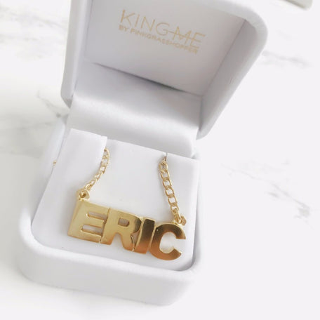 NAMEPLATE NECKLACE - KING ME Custom Jewelry by PG