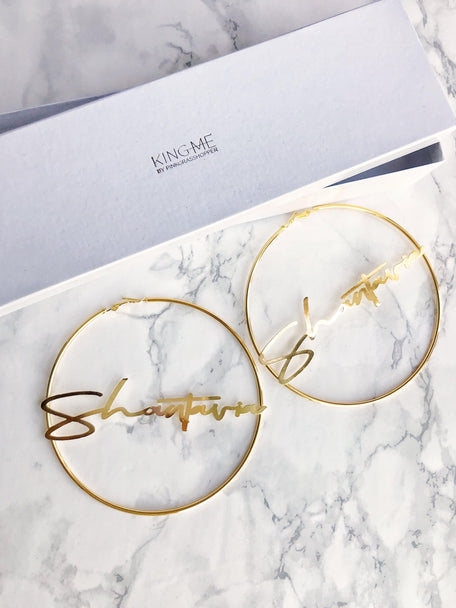 XL NAMEPLATE HOOP EARRINGS - KING ME Custom Jewelry by PG