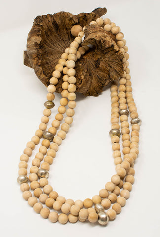 Beaded_natural_wooden_necklace_three-strand_vintage_brass_African_beads_bohemian_Casbah