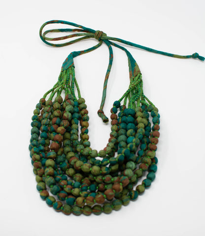 Eve_twelve strand_necklace_green_teal_multicolor_adjustable_silk saree_handwrapped_handmade_made in India_made by women_female artisans_100% silk
