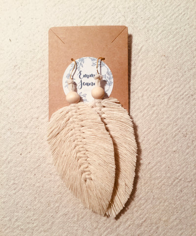 feather earrings_handmade_emmie Jeanne designs_natural fibers_macrame_made by women