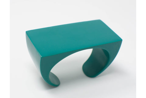 Statement_bracelet_rectangle_three-dimensional_artistic_bold_teal