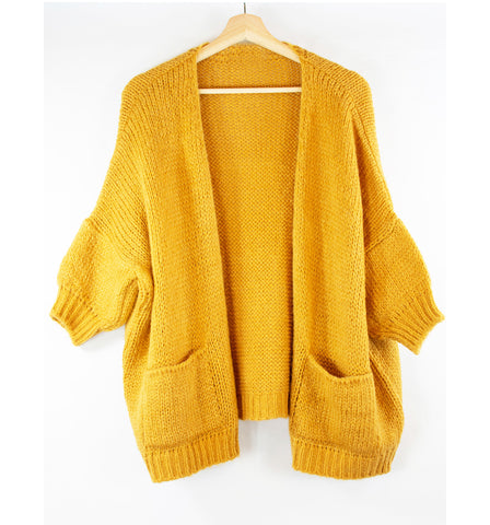 short-sleeve_cardigan_sweater_pockets_sunflower_yellow_one-size_front
