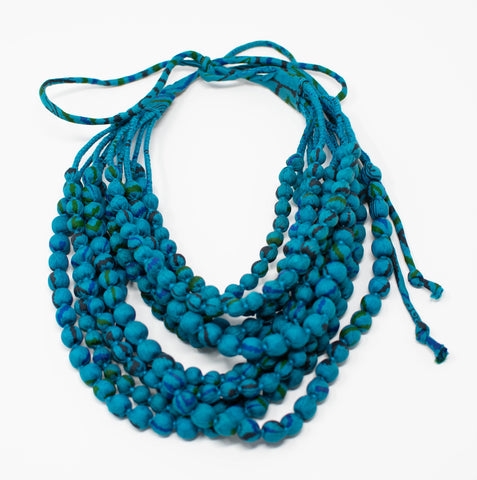 Eve_twelve strand_necklace_blue_turquoise_aqua_multicolor_adjustable_silk saree_handwrapped_handmade_made in India_made by women_female artisans_100% silk