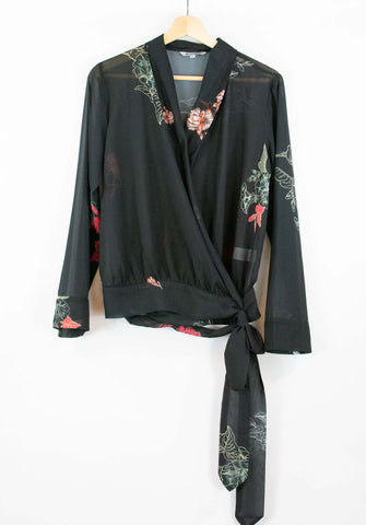 Wrap shirt_sheer fabric_floral_pattered_waist tie_wraparound_made in India_small