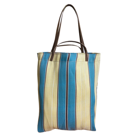 blue_cream_stripe_bag_recycled plastic_handwoven_Assam_India_women for women