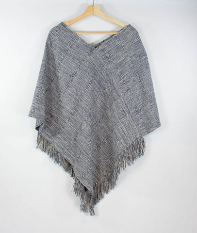 Wayil_poncho_blue_white_recycled denim_cotton_handwoven_made by women_antigua_guatemala