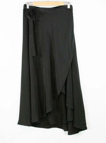 wrap skirt_black_high low hemline_viscose_made in India_dress up_holiday parties_wrap around_small