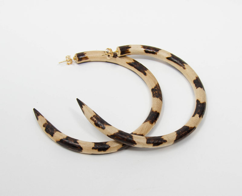 Leopard C-Hoop Earrings Large