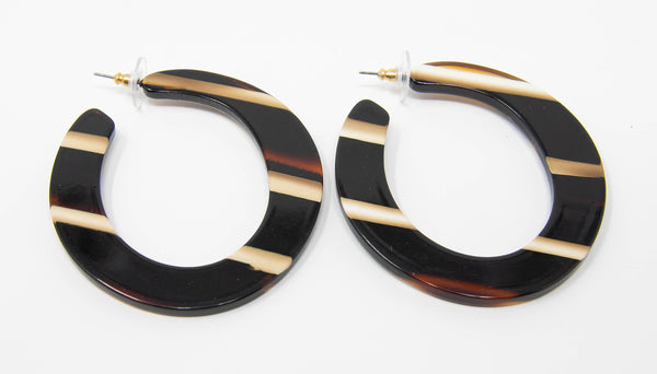 Striped Horn Hoop Earrings
