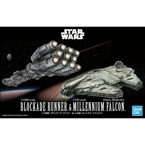 Bandai Star Wars 1/1000 Blockade Runner and 1/350 Millennium Falcon 5055363