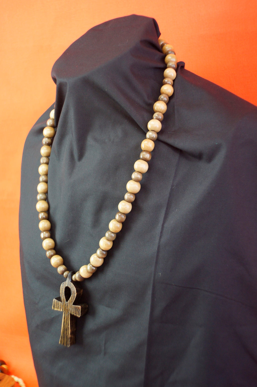Wooden bead necklace : Ankh small