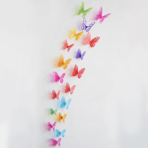 18pcs/lot 3d Effect Crystal Butterflies Wall Stickers for Kids Room Wall Decals Home Decoration - boo.bootik