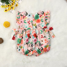 Load image into Gallery viewer, Baby Girl summer clothing floral pink romper with bow - boo.bootik