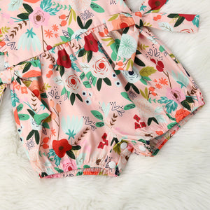 Baby Girl summer clothing floral pink romper with bow - boo.bootik