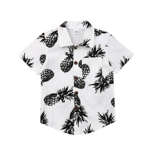 Baby Summer Clothing 1-6Y Infant Kids Boys Pineapple Shirts Cotton Button Up Short Sleeve Toddler Clothes Tops Clothes - boo.bootik