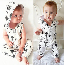 Load image into Gallery viewer, 2019 new cute Children Sleeveless Arrow Clothing Infant Baby Boy Kid Hooded Sleeveles Romper Jumpsuit Outfits Clothes - boo.bootik