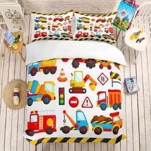 3D print Bedding set,Construction vehicle. kids' gift, Duvet cover set Home Textiles super king/king/queen/twin/full - boo.bootik