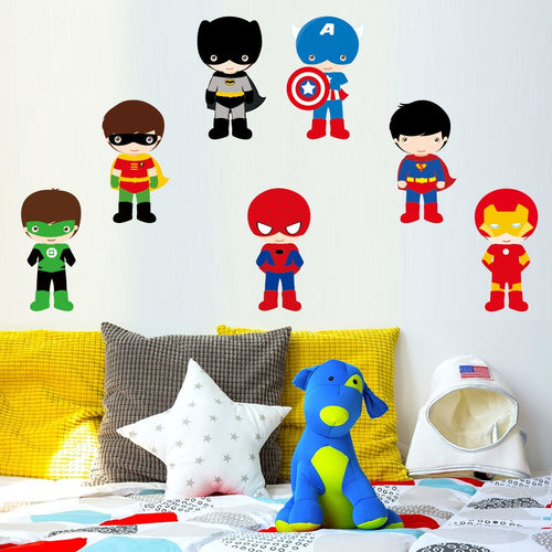 7Pcs Superhero Color Wall Art Stickers For Kids Rooms - boo.bootik