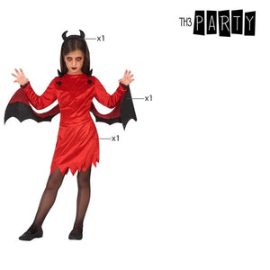 Costume for Children Female demon Red (3 Pcs)