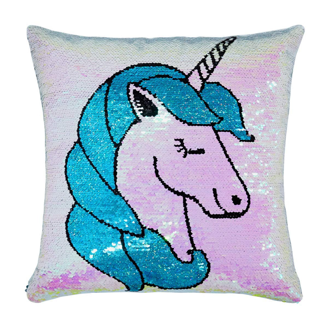 United Unicorns Sequin Unicorn Pillow Cover for Girls 16