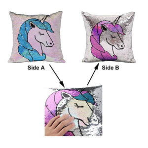 "United Unicorns Sequin Unicorn Pillow Cover for Girls 16""x16"" … 