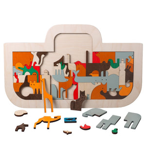 Children Wooden Toys Noah's Ark Puzzle Art Gift for Kids - boo.bootik