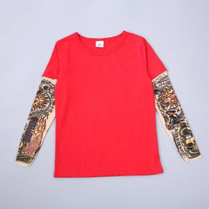 Children Clothing Boy Tattoo T shirt Summer New Cartoon Long Sleeve Tees Printed T-shirts Kids Tops Baby Brand Vestidos - boo.bootik