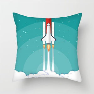 Fuwatacchi Cartoon Spacecraft Cushion Cover Astronaut Rocket Decorative Pillows Case for Home Chair Space Pillow Cover 45*45cm - boo.bootik