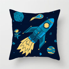 Load image into Gallery viewer, Fuwatacchi Cartoon Spacecraft Cushion Cover Astronaut Rocket Decorative Pillows Case for Home Chair Space Pillow Cover 45*45cm - boo.bootik