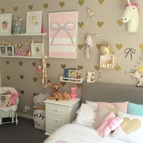 Girl Room Gold Heart Wall Stickers Baby Nursery Decal Children - boo.bootik