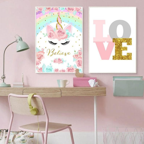 Rainbow Unicorn Poster Print Wall Art for Baby Nursery - boo.bootik