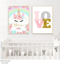Load image into Gallery viewer, Rainbow Unicorn Poster Print Wall Art for Baby Nursery - boo.bootik