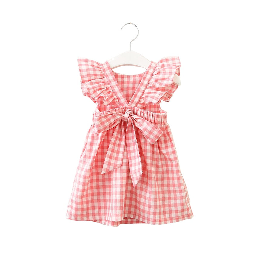 25eae669b Load image into Gallery viewer, Summer sleeveless plaid baby Girl clothes  ruffles backless Children dress ...