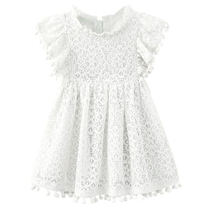 Kids Girl Ball Gown Dress NEW White Toddler Girl Summer Lace Dress 2 3 4 5 6 7 8 Year Princess Birthday Party Dress Children Clothing - boo.bootik